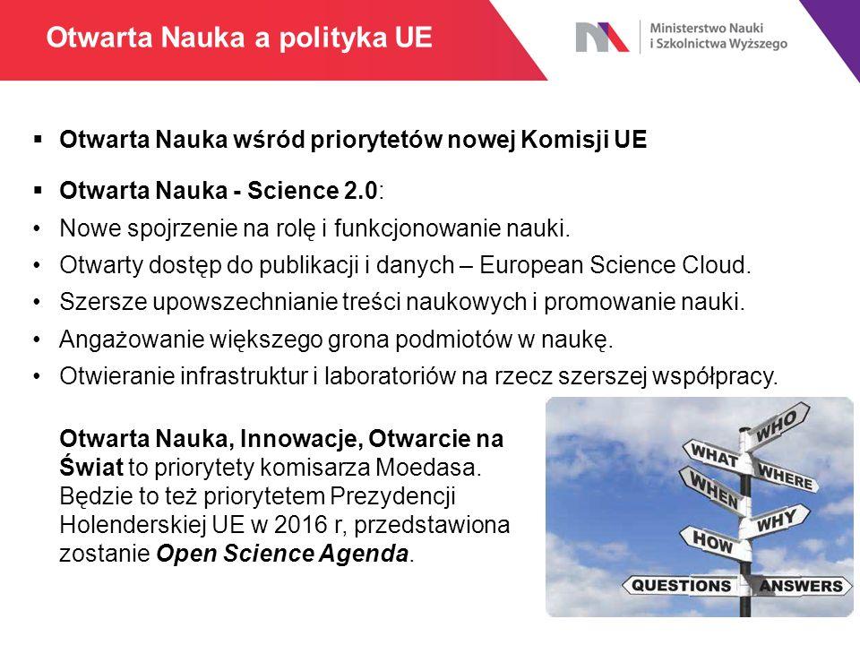  Otwarta Nauka wśród priorytetów nowej Komisji UE  Otwarta Nauka - Science 2.0: Nowe spojrzenie na rolę i funkcjonowanie nauki. Otwarty dostęp do pu