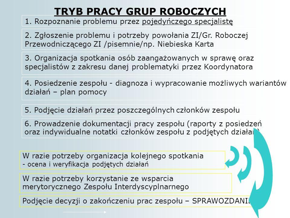 TRYB PRACY GRUP ROBOCZYCH 1.Rozpoznanie problemu przez pojedyńczego specjalistę 2.