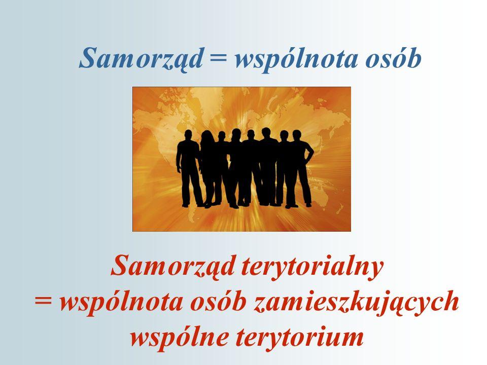 Samorząd = wspólnota osób Samorząd terytorialny = wspólnota osób zamieszkujących wspólne terytorium
