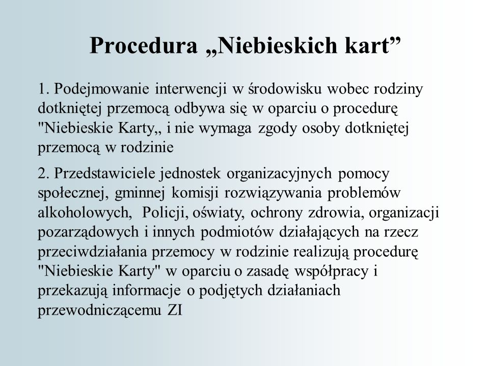 "Procedura ""Niebieskich kart 1."