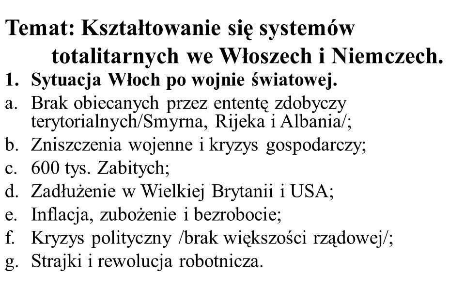 Temat: Kształtowanie się systemów totalitarnych we Włoszech i Niemczech. 1.Sytuacja Włoch po wojnie światowej. a.Brak obiecanych przez ententę zdobycz