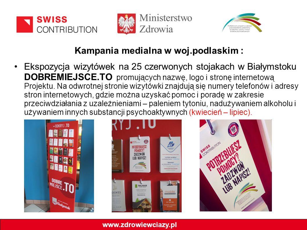 Kampania medialna w woj.podlaskim : Ekspozycja wizytówek na 25 czerwonych stojakach w Białymstoku DOBREMIEJSCE.TO promujących nazwę, logo i stronę internetową Projektu.