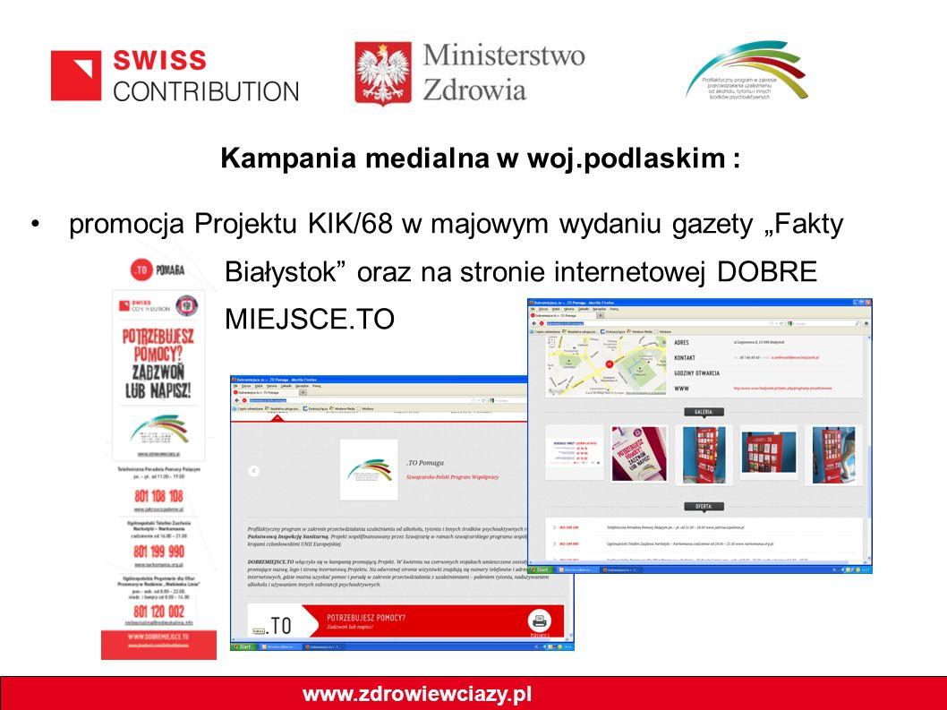 """Kampania medialna w woj.podlaskim : promocja Projektu KIK/68 w majowym wydaniu gazety """"Fakty Białystok oraz na stronie internetowej DOBRE MIEJSCE.TO www.zdrowiewciazy.pl"""