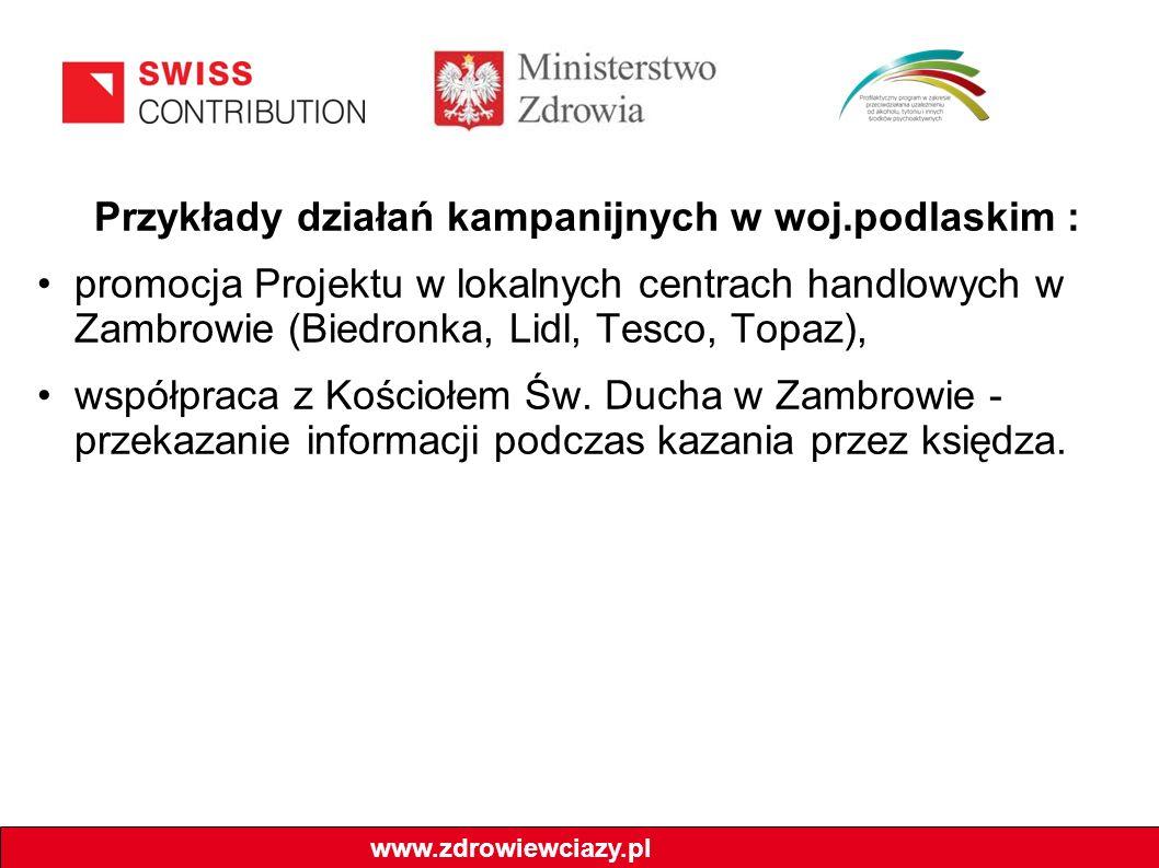 Przykłady działań kampanijnych w woj.podlaskim : promocja Projektu w lokalnych centrach handlowych w Zambrowie (Biedronka, Lidl, Tesco, Topaz), współpraca z Kościołem Św.