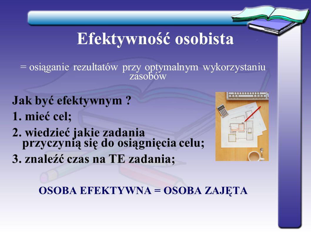 Efektywność osobista = osiąganie rezultatów przy optymalnym wykorzystaniu zasobów Jak być efektywnym .