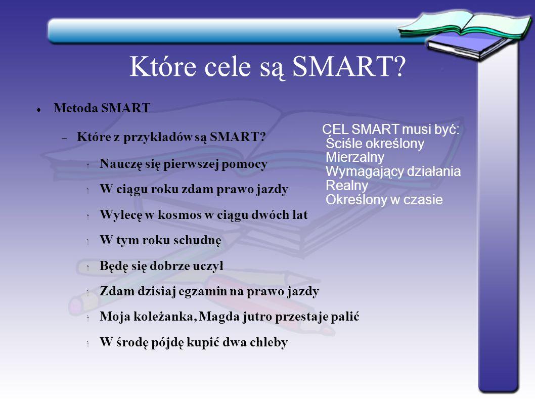 Które cele są SMART. Metoda SMART  Które z przykładów są SMART.