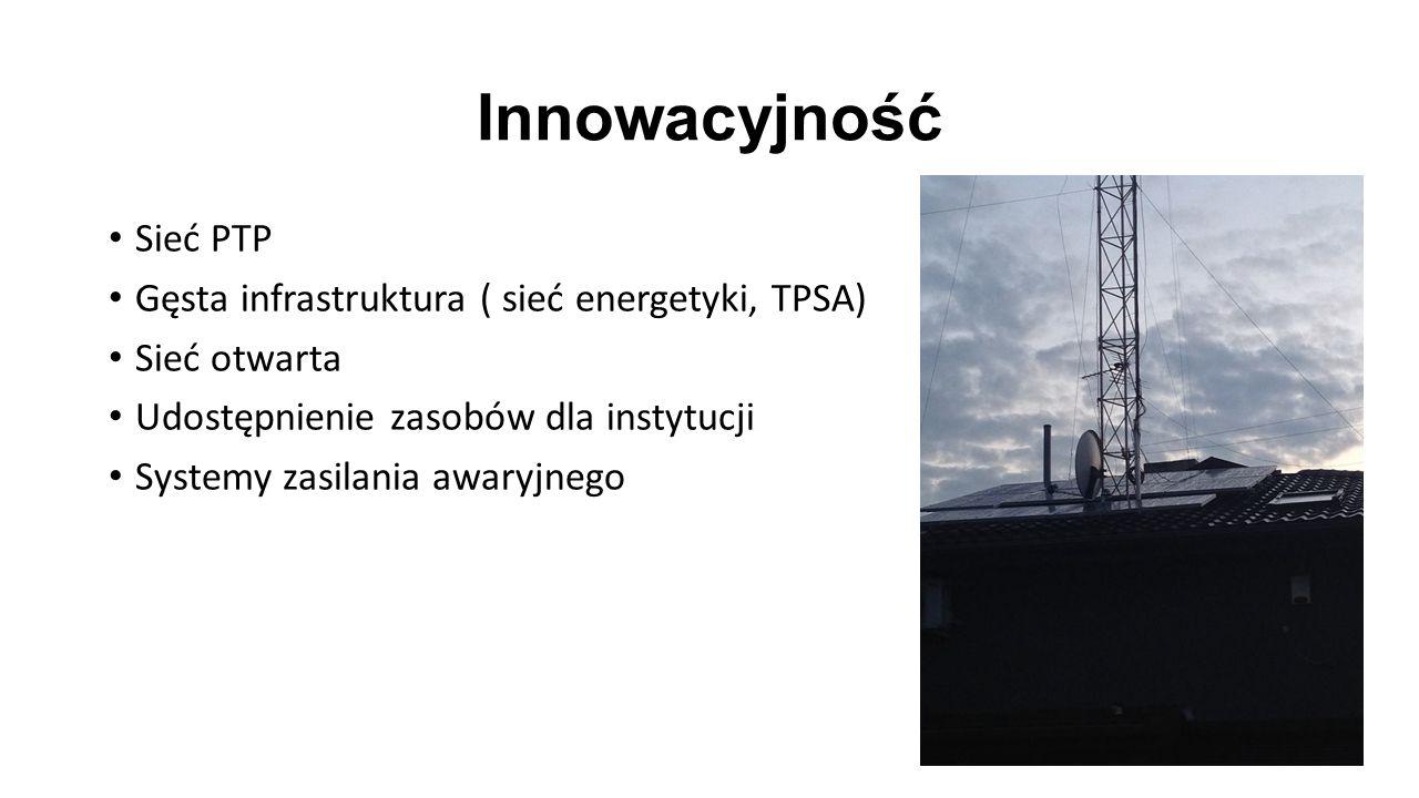 Innowacyjność Sieć PTP Gęsta infrastruktura ( sieć energetyki, TPSA) Sieć otwarta Udostępnienie zasobów dla instytucji Systemy zasilania awaryjnego