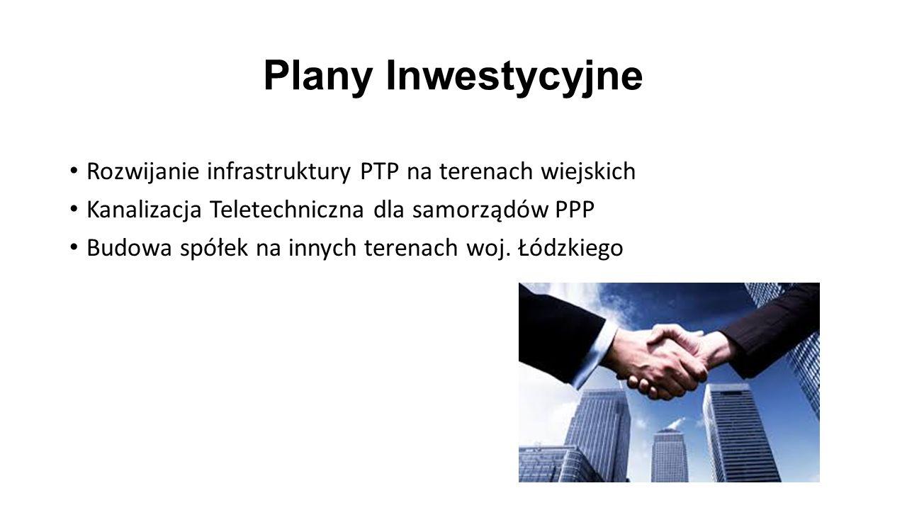 Plany Inwestycyjne Rozwijanie infrastruktury PTP na terenach wiejskich Kanalizacja Teletechniczna dla samorządów PPP Budowa spółek na innych terenach woj.