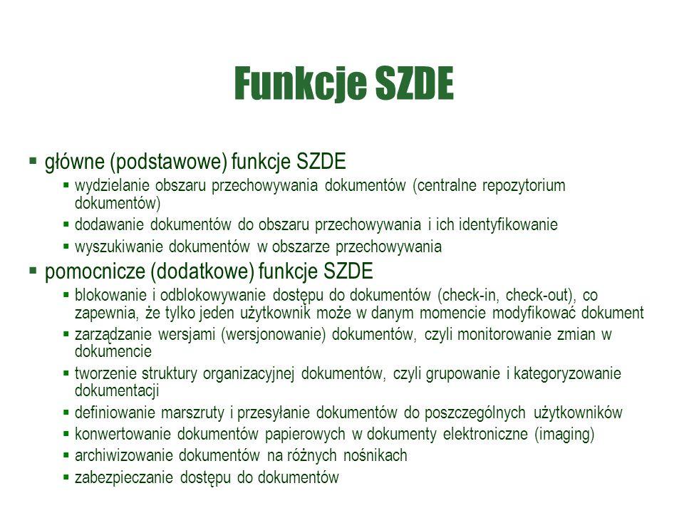 Funkcje SZDE  główne (podstawowe) funkcje SZDE  wydzielanie obszaru przechowywania dokumentów (centralne repozytorium dokumentów)  dodawanie dokumentów do obszaru przechowywania i ich identyfikowanie  wyszukiwanie dokumentów w obszarze przechowywania  pomocnicze (dodatkowe) funkcje SZDE  blokowanie i odblokowywanie dostępu do dokumentów (check-in, check-out), co zapewnia, że tylko jeden użytkownik może w danym momencie modyfikować dokument  zarządzanie wersjami (wersjonowanie) dokumentów, czyli monitorowanie zmian w dokumencie  tworzenie struktury organizacyjnej dokumentów, czyli grupowanie i kategoryzowanie dokumentacji  definiowanie marszruty i przesyłanie dokumentów do poszczególnych użytkowników  konwertowanie dokumentów papierowych w dokumenty elektroniczne (imaging)  archiwizowanie dokumentów na różnych nośnikach  zabezpieczanie dostępu do dokumentów