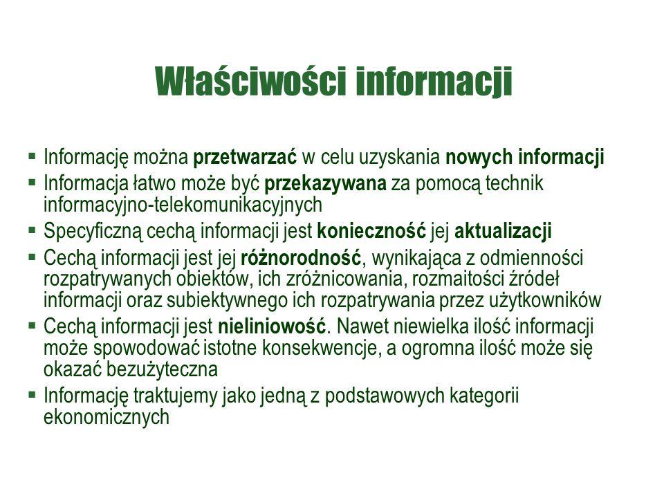 Właściwości informacji  Informację można przetwarzać w celu uzyskania nowych informacji  Informacja łatwo może być przekazywana za pomocą technik informacyjno-telekomunikacyjnych  Specyficzną cechą informacji jest konieczność jej aktualizacji  Cechą informacji jest jej różnorodność, wynikająca z odmienności rozpatrywanych obiektów, ich zróżnicowania, rozmaitości źródeł informacji oraz subiektywnego ich rozpatrywania przez użytkowników  Cechą informacji jest nieliniowość.
