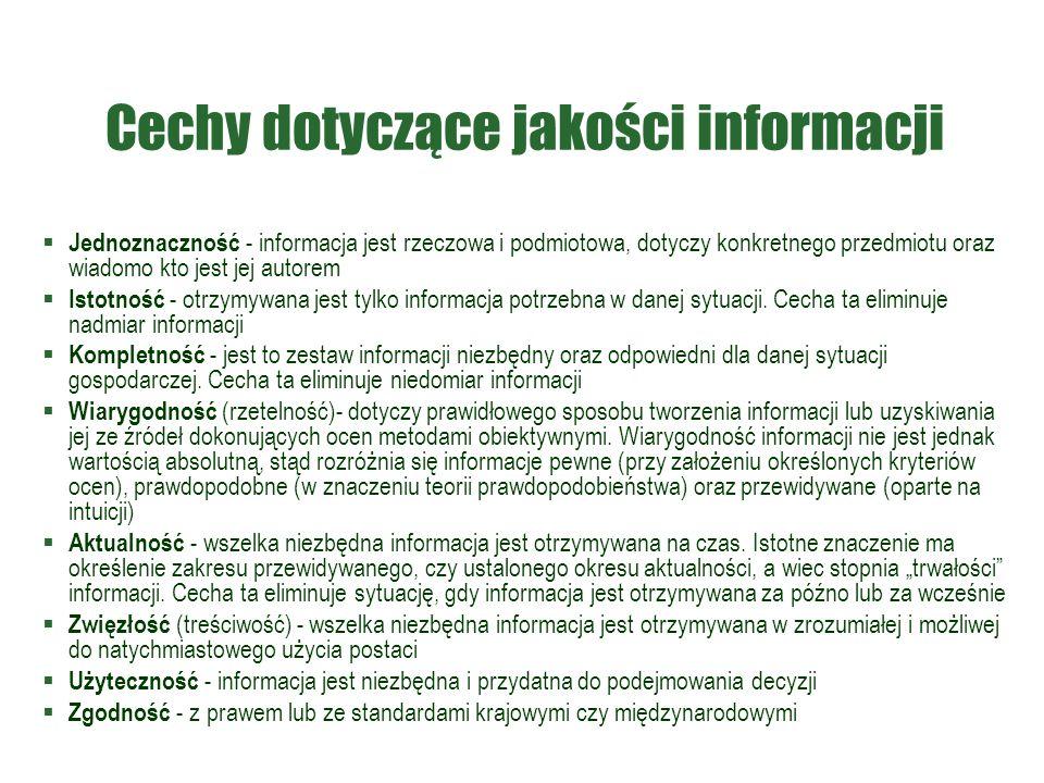 Cechy dotyczące jakości informacji  Jednoznaczność - informacja jest rzeczowa i podmiotowa, dotyczy konkretnego przedmiotu oraz wiadomo kto jest jej autorem  Istotność - otrzymywana jest tylko informacja potrzebna w danej sytuacji.