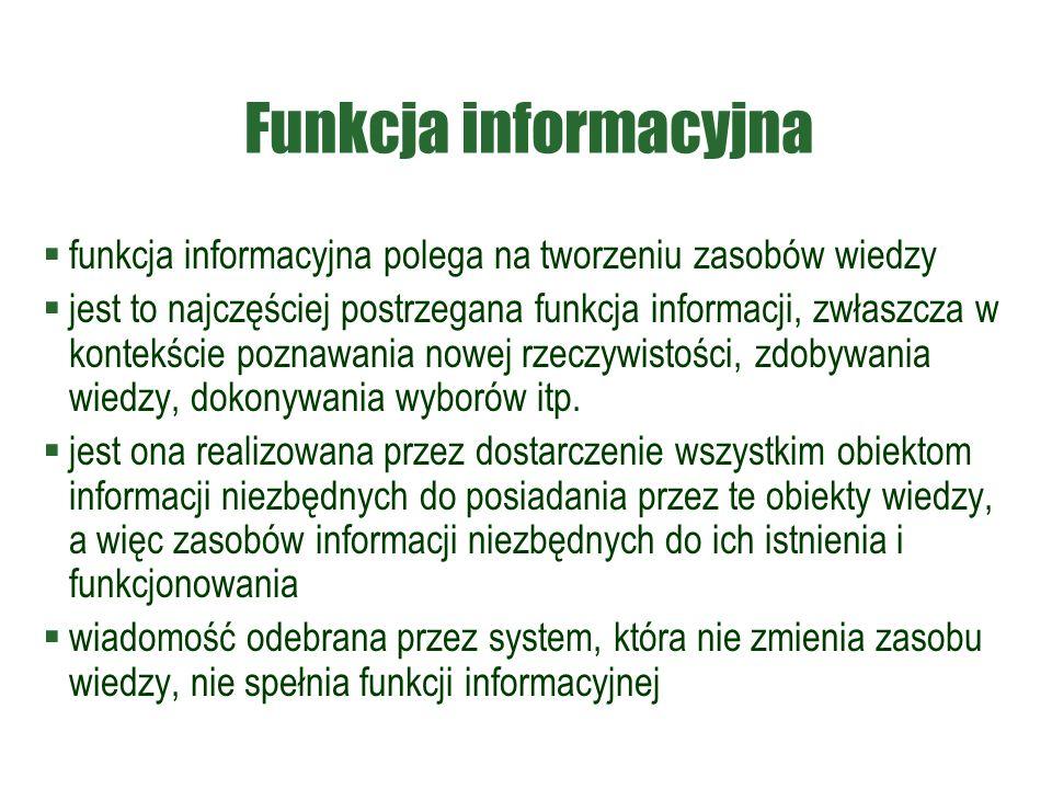 Funkcja informacyjna  funkcja informacyjna polega na tworzeniu zasobów wiedzy  jest to najczęściej postrzegana funkcja informacji, zwłaszcza w kontekście poznawania nowej rzeczywistości, zdobywania wiedzy, dokonywania wyborów itp.