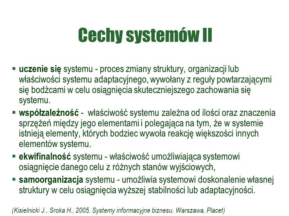 Cechy systemów II  uczenie się systemu - proces zmiany struktury, organizacji lub właściwości systemu adaptacyjnego, wywołany z reguły powtarzającymi się bodźcami w celu osiągnięcia skuteczniejszego zachowania się systemu.