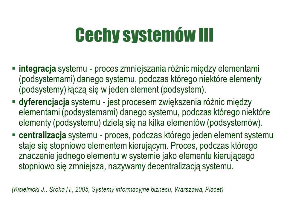 Cechy systemów III  integracja systemu - proces zmniejszania różnic między elementami (podsystemami) danego systemu, podczas którego niektóre elementy (podsystemy) łączą się w jeden element (podsystem).