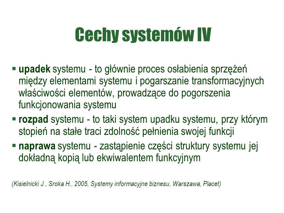 Cechy systemów IV  upadek systemu - to głównie proces osłabienia sprzężeń między elementami systemu i pogarszanie transformacyjnych właściwości elementów, prowadzące do pogorszenia funkcjonowania systemu  rozpad systemu - to taki system upadku systemu, przy którym stopień na stałe traci zdolność pełnienia swojej funkcji  naprawa systemu - zastąpienie części struktury systemu jej dokładną kopią lub ekwiwalentem funkcyjnym (Kisielnicki J., Sroka H., 2005, Systemy informacyjne biznesu, Warszawa, Placet)