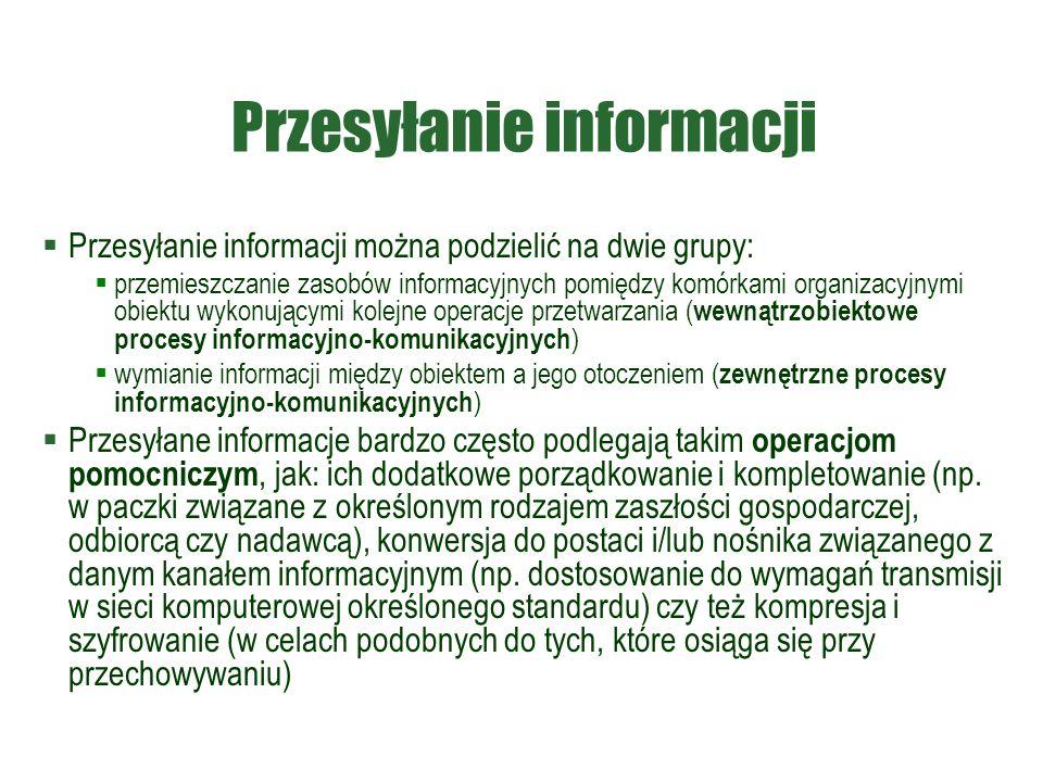 Przesyłanie informacji  Przesyłanie informacji można podzielić na dwie grupy:  przemieszczanie zasobów informacyjnych pomiędzy komórkami organizacyjnymi obiektu wykonującymi kolejne operacje przetwarzania ( wewnątrzobiektowe procesy informacyjno-komunikacyjnych )  wymianie informacji między obiektem a jego otoczeniem ( zewnętrzne procesy informacyjno-komunikacyjnych )  Przesyłane informacje bardzo często podlegają takim operacjom pomocniczym, jak: ich dodatkowe porządkowanie i kompletowanie (np.