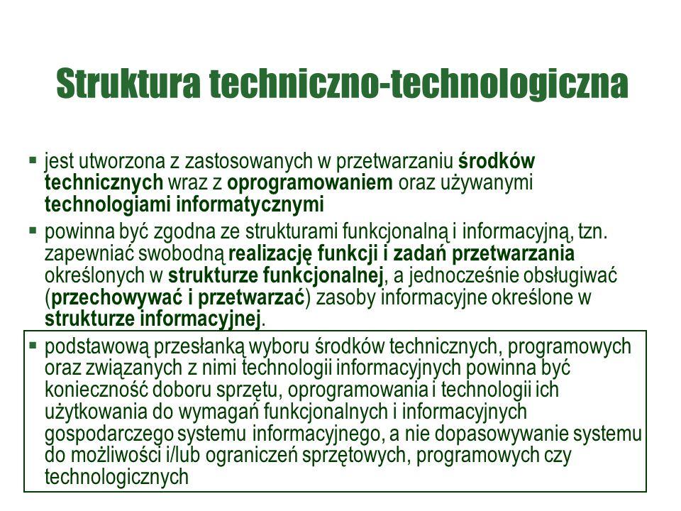 Struktura techniczno-technologiczna  jest utworzona z zastosowanych w przetwarzaniu środków technicznych wraz z oprogramowaniem oraz używanymi technologiami informatycznymi  powinna być zgodna ze strukturami funkcjonalną i informacyjną, tzn.