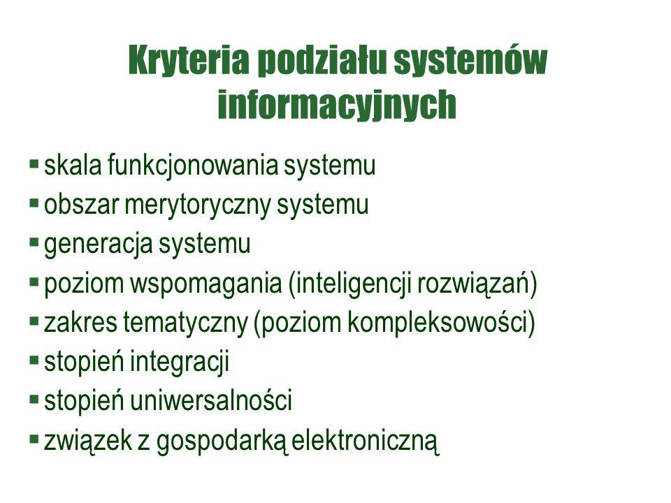 Kryteria podziału systemów informacyjnych  skala funkcjonowania systemu  obszar merytoryczny systemu  generacja systemu  poziom wspomagania (inteligencji rozwiązań)  zakres tematyczny (poziom kompleksowości)  stopień integracji  stopień uniwersalności  związek z gospodarką elektroniczną
