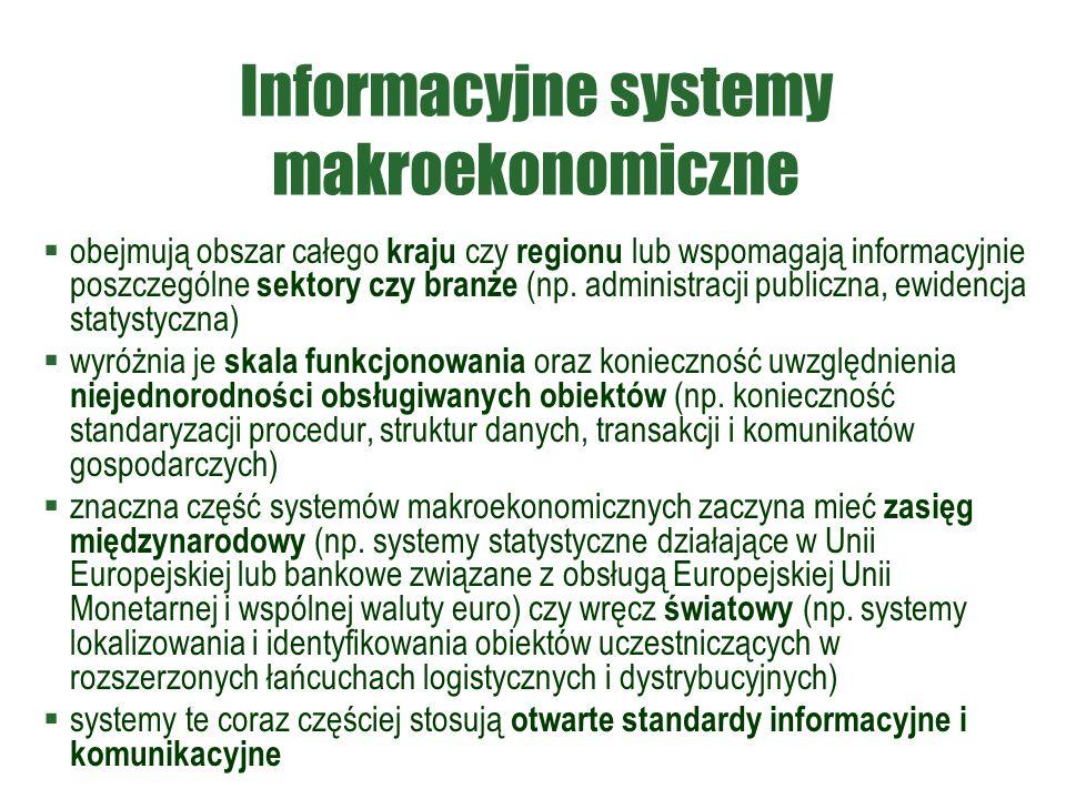 Informacyjne systemy makroekonomiczne  obejmują obszar całego kraju czy regionu lub wspomagają informacyjnie poszczególne sektory czy branże (np.