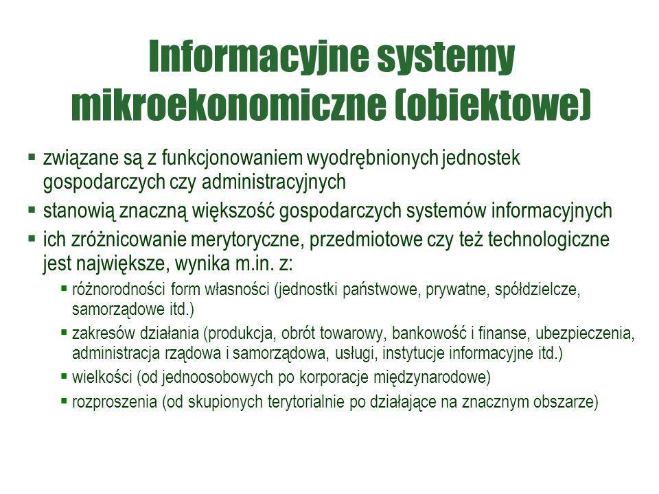 Informacyjne systemy mikroekonomiczne (obiektowe)  związane są z funkcjonowaniem wyodrębnionych jednostek gospodarczych czy administracyjnych  stanowią znaczną większość gospodarczych systemów informacyjnych  ich zróżnicowanie merytoryczne, przedmiotowe czy też technologiczne jest największe, wynika m.in.