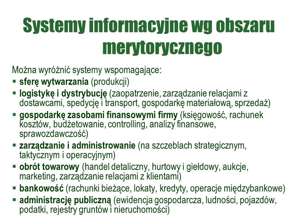 Systemy informacyjne wg obszaru merytorycznego Można wyróżnić systemy wspomagające:  sferę wytwarzania (produkcji)  logistykę i dystrybucję (zaopatrzenie, zarządzanie relacjami z dostawcami, spedycję i transport, gospodarkę materiałową, sprzedaż)  gospodarkę zasobami finansowymi firmy (księgowość, rachunek kosztów, budżetowanie, controlling, analizy finansowe, sprawozdawczość)  zarządzanie i administrowanie (na szczeblach strategicznym, taktycznym i operacyjnym)  obrót towarowy (handel detaliczny, hurtowy i giełdowy, aukcje, marketing, zarządzanie relacjami z klientami)  bankowość (rachunki bieżące, lokaty, kredyty, operacje międzybankowe)  administrację publiczną (ewidencja gospodarcza, ludności, pojazdów, podatki, rejestry gruntów i nieruchomości)