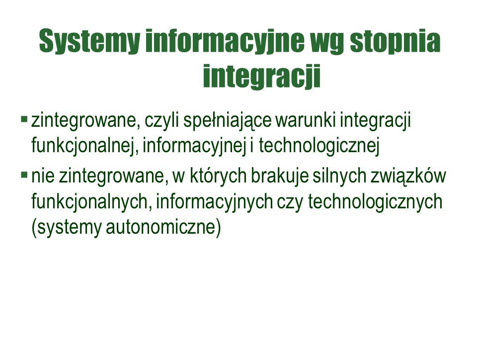 Systemy informacyjne wg stopnia integracji  zintegrowane, czyli spełniające warunki integracji funkcjonalnej, informacyjnej i technologicznej  nie zintegrowane, w których brakuje silnych związków funkcjonalnych, informacyjnych czy technologicznych (systemy autonomiczne)