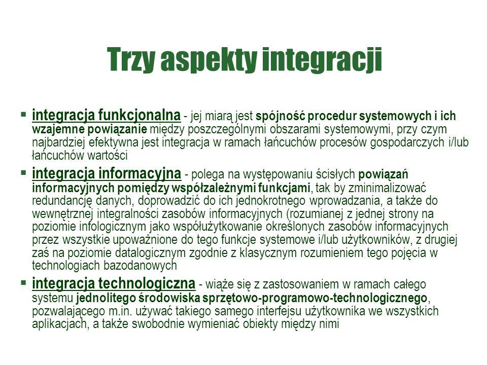 Trzy aspekty integracji  integracja funkcjonalna - jej miarą jest spójność procedur systemowych i ich wzajemne powiązanie między poszczególnymi obszarami systemowymi, przy czym najbardziej efektywna jest integracja w ramach łańcuchów procesów gospodarczych i/lub łańcuchów wartości  integracja informacyjna - polega na występowaniu ścisłych powiązań informacyjnych pomiędzy współzależnymi funkcjami, tak by zminimalizować redundancję danych, doprowadzić do ich jednokrotnego wprowadzania, a także do wewnętrznej integralności zasobów informacyjnych (rozumianej z jednej strony na poziomie infologicznym jako współużytkowanie określonych zasobów informacyjnych przez wszystkie upoważnione do tego funkcje systemowe i/lub użytkowników, z drugiej zaś na poziomie datalogicznym zgodnie z klasycznym rozumieniem tego pojęcia w technologiach bazodanowych  integracja technologiczna - wiąże się z zastosowaniem w ramach całego systemu jednolitego środowiska sprzętowo-programowo-technologicznego, pozwalającego m.in.