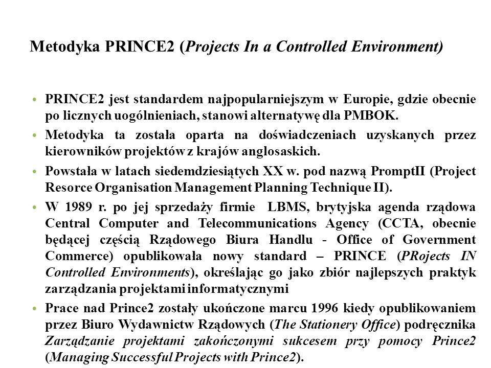 Metodyka PRINCE2 (Projects In a Controlled Environment) PRINCE2 jest standardem najpopularniejszym w Europie, gdzie obecnie po licznych uogólnieniach, stanowi alternatywę dla PMBOK.