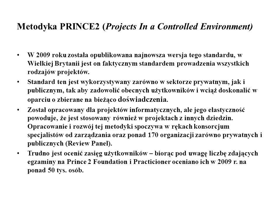 Metodyka PRINCE2 (Projects In a Controlled Environment) W 2009 roku została opublikowana najnowsza wersja tego standardu, w Wielkiej Brytanii jest on faktycznym standardem prowadzenia wszystkich rodzajów projektów.