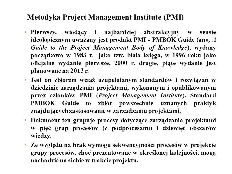 Metodyka Project Management Institute (PMI) Pierwszy, wiodący i najbardziej abstrakcyjny w sensie ideologicznym uważany jest produkt PMI - PMBOK Guide