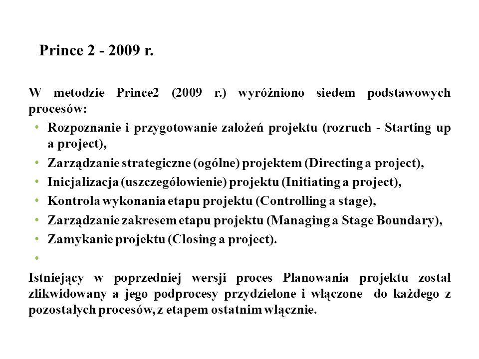 Prince 2 - 2009 r. W metodzie Prince2 (2009 r.) wyróżniono siedem podstawowych procesów: Rozpoznanie i przygotowanie założeń projektu (rozruch - Start