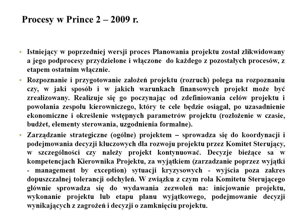 Procesy w Prince 2 – 2009 r. Istniejący w poprzedniej wersji proces Planowania projektu został zlikwidowany a jego podprocesy przydzielone i włączone