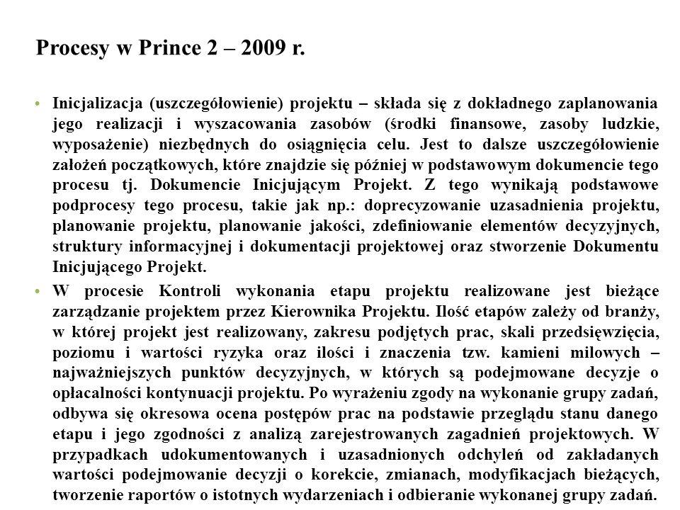 Procesy w Prince 2 – 2009 r. Inicjalizacja (uszczegółowienie) projektu – składa się z dokładnego zaplanowania jego realizacji i wyszacowania zasobów (