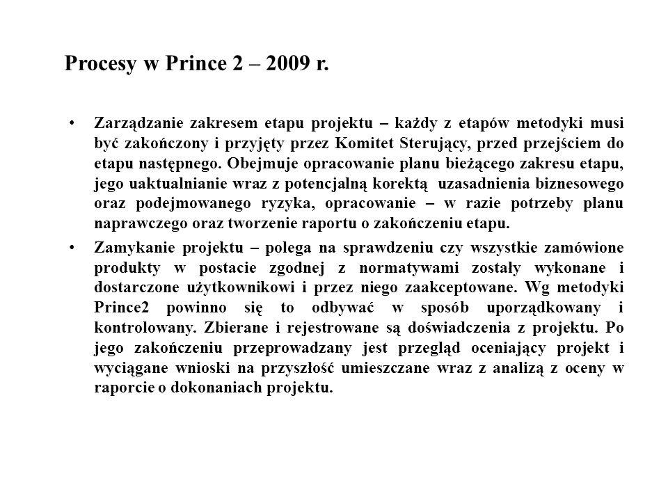 Procesy w Prince 2 – 2009 r. Zarządzanie zakresem etapu projektu – każdy z etapów metodyki musi być zakończony i przyjęty przez Komitet Sterujący, prz
