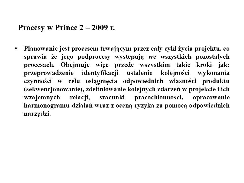 Procesy w Prince 2 – 2009 r. Planowanie jest procesem trwającym przez cały cykl życia projektu, co sprawia że jego podprocesy występują we wszystkich