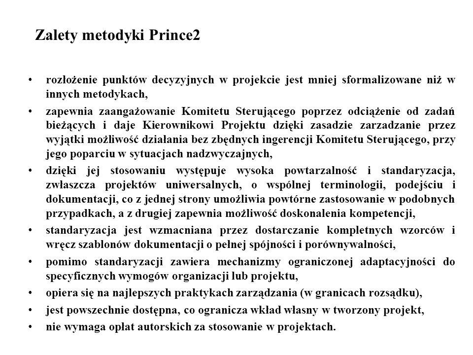 Zalety metodyki Prince2 rozłożenie punktów decyzyjnych w projekcie jest mniej sformalizowane niż w innych metodykach, zapewnia zaangażowanie Komitetu