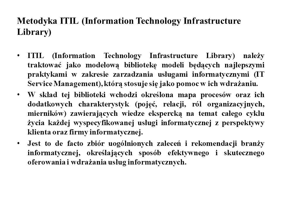 Metodyka ITIL (Information Technology Infrastructure Library) ITIL (Information Technology Infrastructure Library) należy traktować jako modelową bibl
