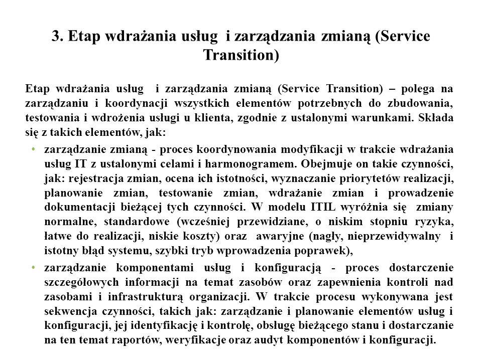 3. Etap wdrażania usług i zarządzania zmianą (Service Transition) Etap wdrażania usług i zarządzania zmianą (Service Transition) – polega na zarządzan