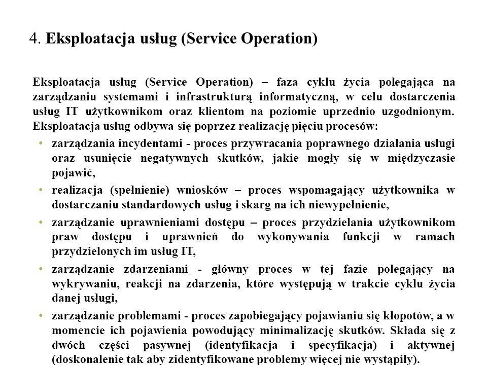 4. Eksploatacja usług (Service Operation) Eksploatacja usług (Service Operation) – faza cyklu życia polegająca na zarządzaniu systemami i infrastruktu
