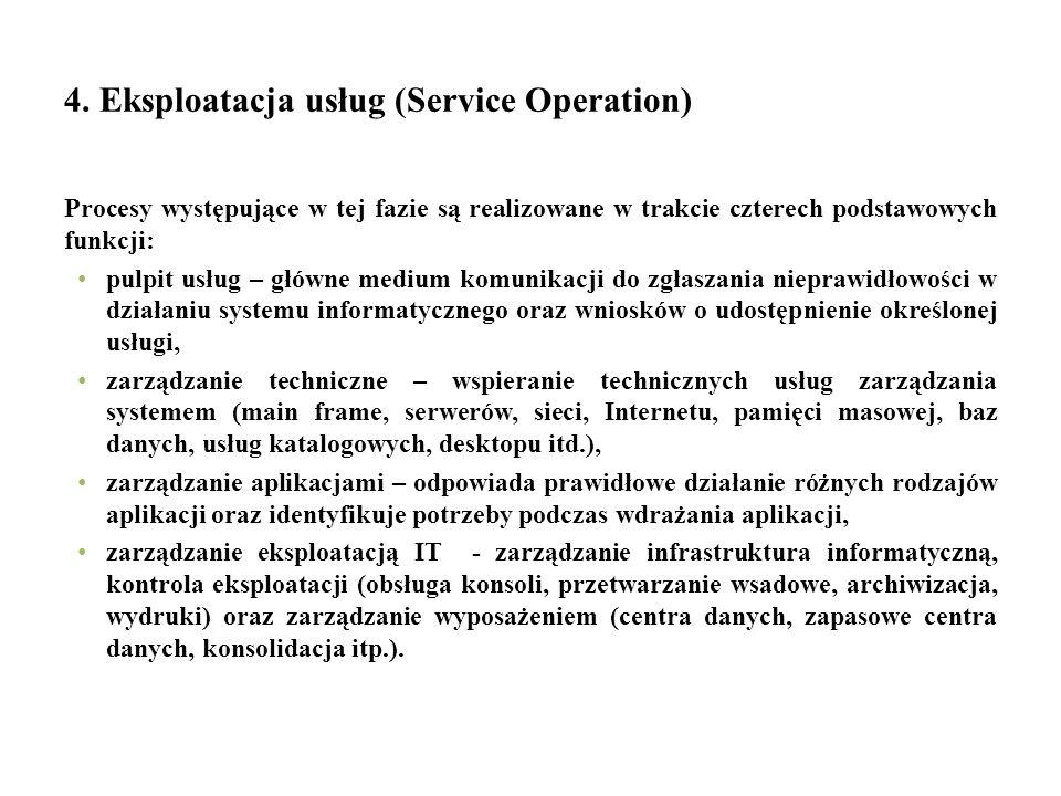 4. Eksploatacja usług (Service Operation) Procesy występujące w tej fazie są realizowane w trakcie czterech podstawowych funkcji: pulpit usług – główn