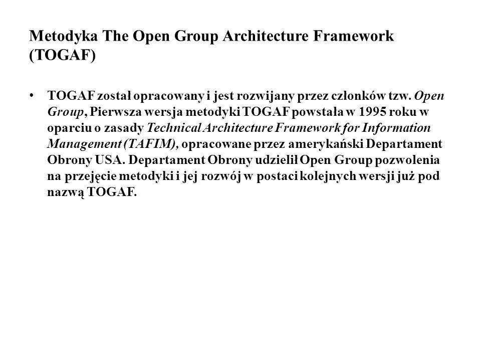 Metodyka The Open Group Architecture Framework (TOGAF) TOGAF został opracowany i jest rozwijany przez członków tzw.