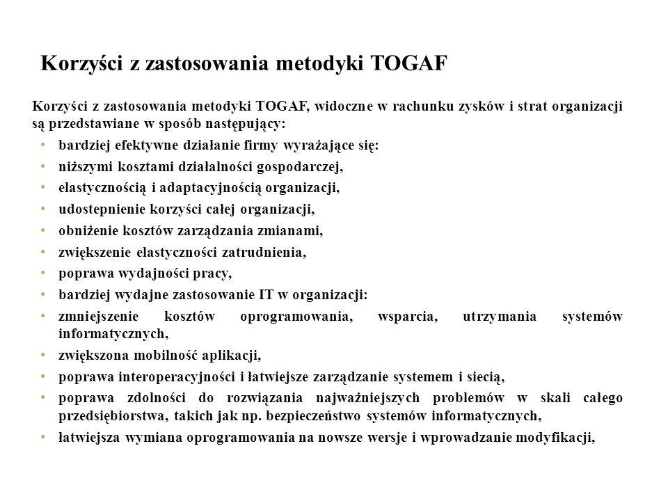 Korzyści z zastosowania metodyki TOGAF Korzyści z zastosowania metodyki TOGAF, widoczne w rachunku zysków i strat organizacji są przedstawiane w sposó