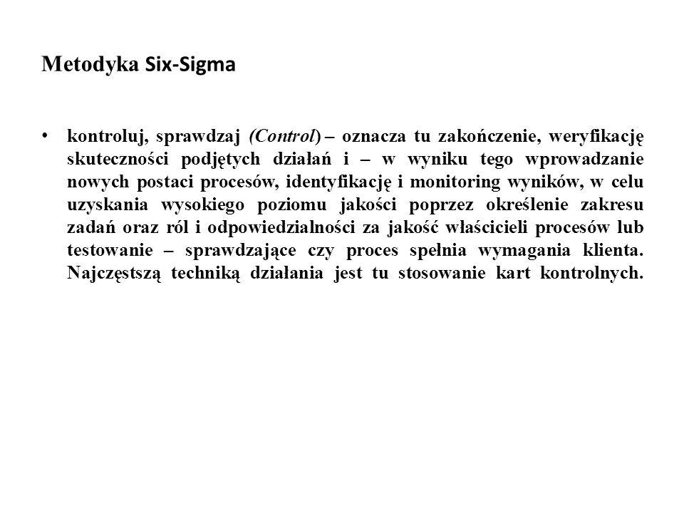 Metodyka Six-Sigma kontroluj, sprawdzaj (Control) – oznacza tu zakończenie, weryfikację skuteczności podjętych działań i – w wyniku tego wprowadzanie