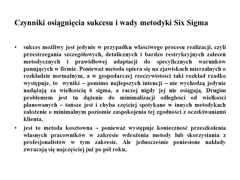 Czynniki osiągnięcia sukcesu i wady metodyki Six Sigma sukces możliwy jest jedynie w przypadku właściwego procesu realizacji, czyli przestrzegania szczegółowych, detalicznych i bardzo restrykcyjnych zaleceń metodycznych i prawidłowej adaptacji do specyficznych warunków panujących w firmie.