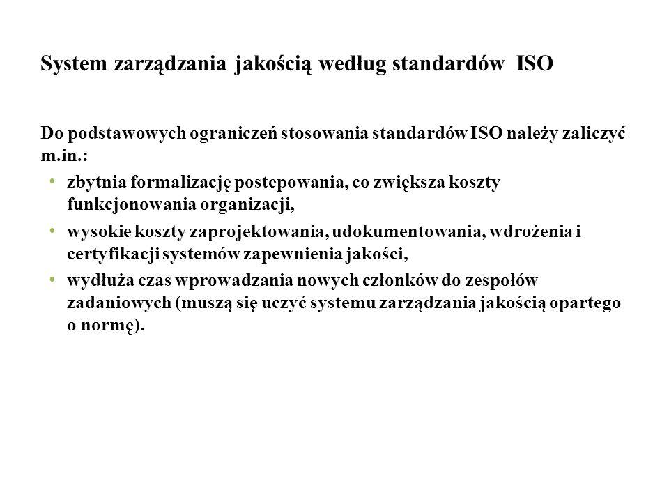 System zarządzania jakością według standardów ISO Do podstawowych ograniczeń stosowania standardów ISO należy zaliczyć m.in.: zbytnia formalizację pos