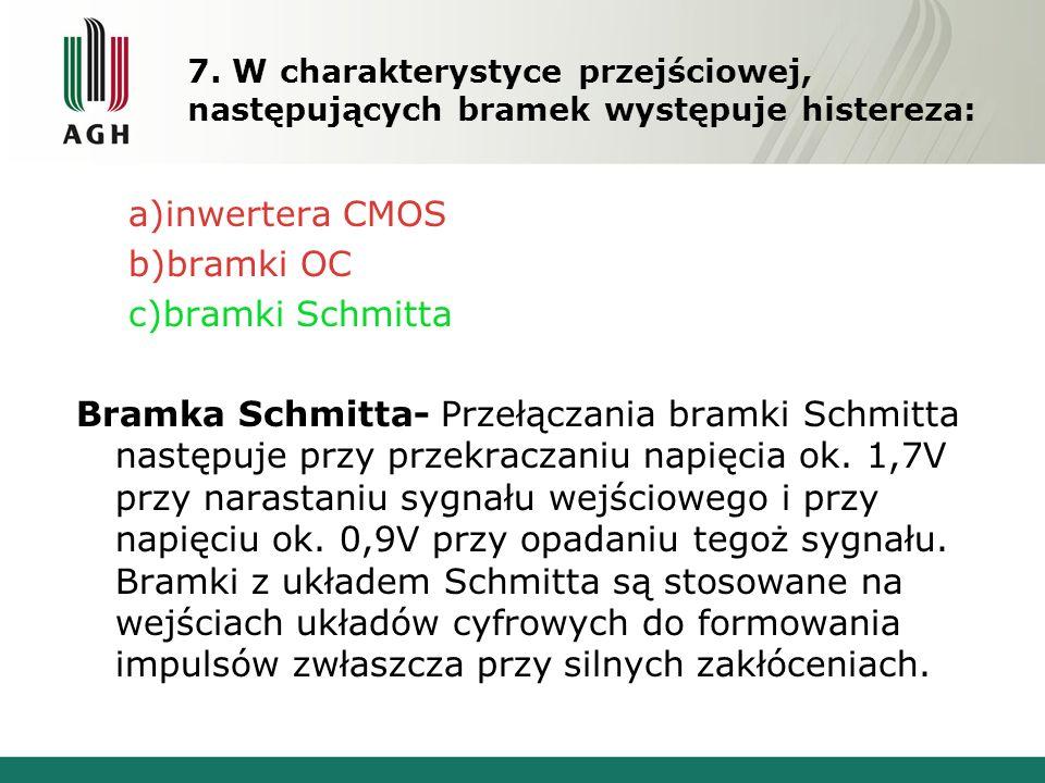 7. W charakterystyce przejściowej, następujących bramek występuje histereza: a)inwertera CMOS b)bramki OC c)bramki Schmitta Bramka Schmitta- Przełącza