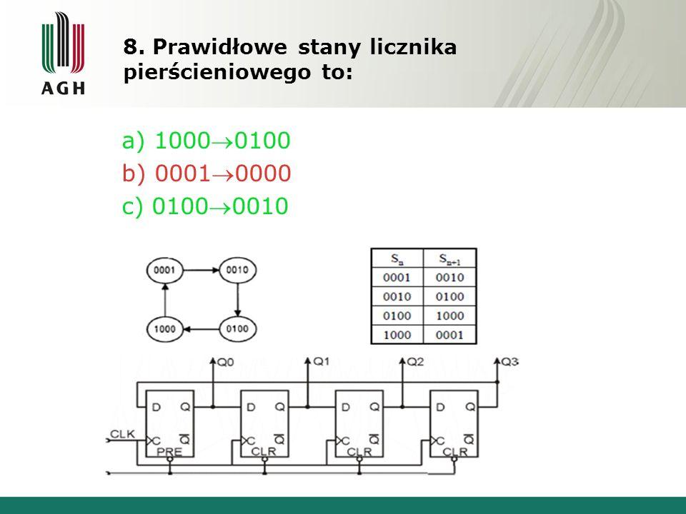 8. Prawidłowe stany licznika pierścieniowego to: a) 10000100 b) 00010000 c) 01000010