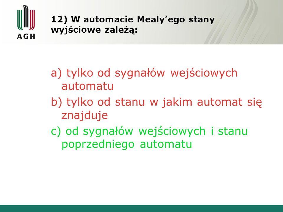 12) W automacie Mealy'ego stany wyjściowe zależą: a) tylko od sygnałów wejściowych automatu b) tylko od stanu w jakim automat się znajduje c) od sygnałów wejściowych i stanu poprzedniego automatu