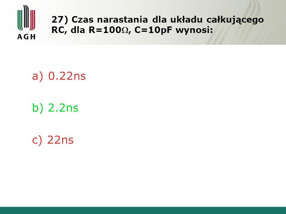 27) Czas narastania dla układu całkującego RC, dla R=100, C=10pF wynosi: a)0.22ns b) 2.2ns c) 22ns