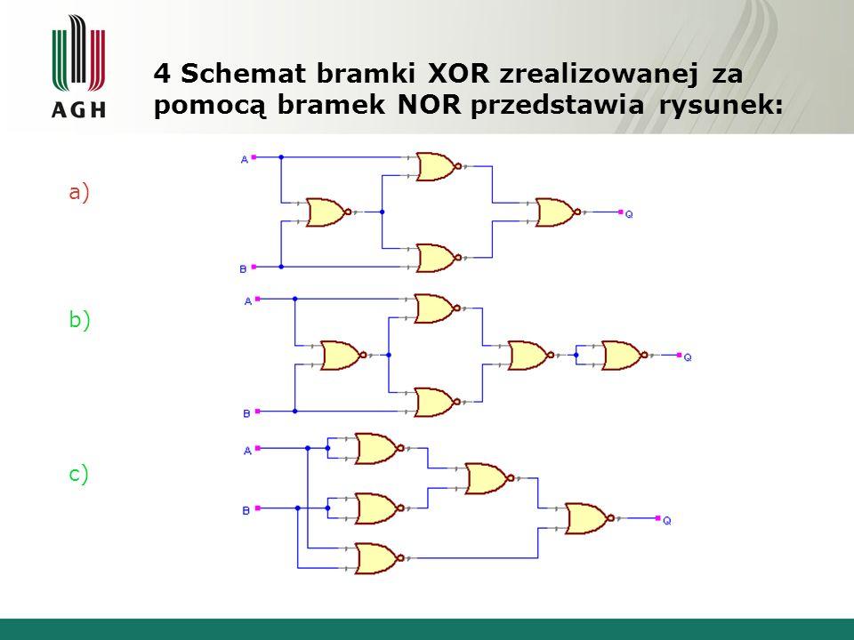 4 Schemat bramki XOR zrealizowanej za pomocą bramek NOR przedstawia rysunek: a) b) c)
